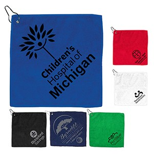 "12"" x 12"" - ""The Wedge"" 300GSM Heavy Duty Microfiber Golf Towel with Metal Grommet and Clip"