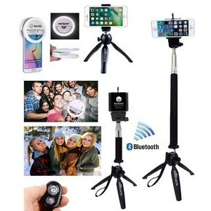 iBank(R)3 in 1 Universal Tripod + Selfie Stick + Bluetooth Remote Shutter (Black)