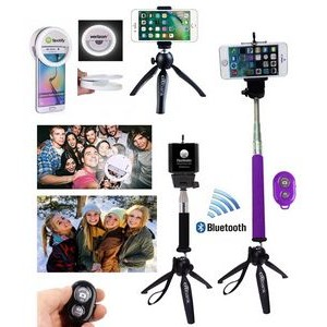 iBank(R)3 in 1 Universal Tripod + Selfie Stick + Bluetooth Remote Shutter (Purple)